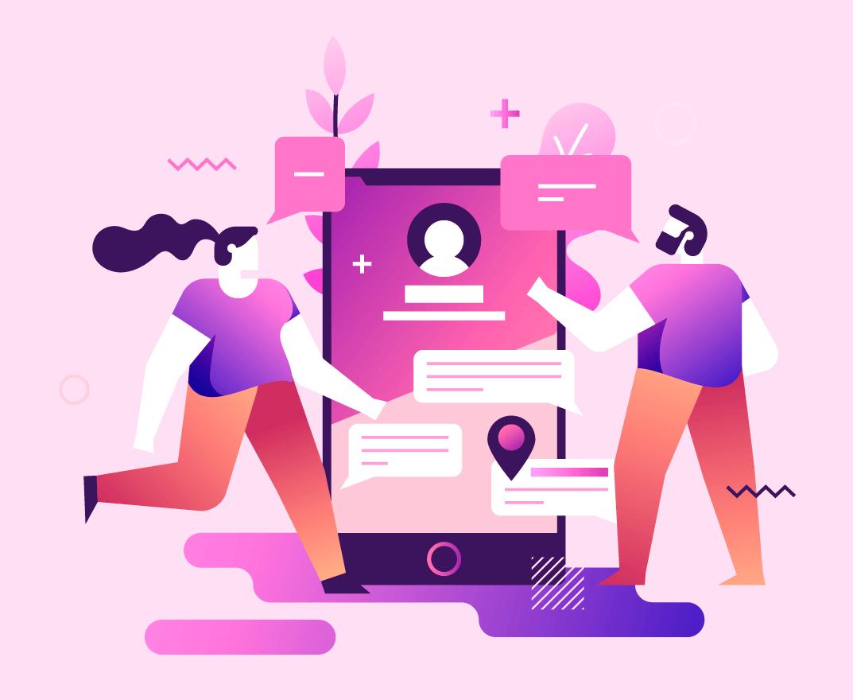 Ilustración de 2 jóvenes y un celular en la página Administración de redes sociales para empresas en cali - publicidad
